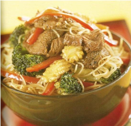 carne de Ternera con Fideos de arroz